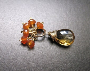 Citrine, Carnelian Gemstone Pendant for Interchangeable Necklace