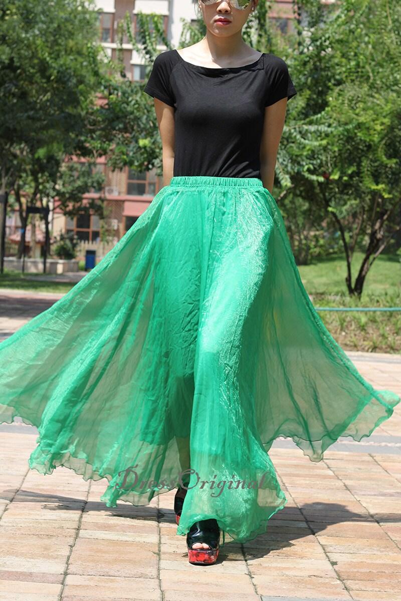 Emerald Green Maxi Skirt Long Chiffon Skirt Maxi Dress Silk