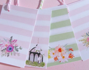 Floral Gift Tags Bridal Set of Ten Shower Gift Tags Wedding Gift Tags Baby Shower Gift Tags Flower Gift Tags Birdcage Tags  - fgt5