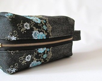 Large Cosmetic Bag, Makeup Bag, wool and lace makeup  bag, travel case, medium make up case, toiletry bag, zipper pouch, Charcoal and Blue