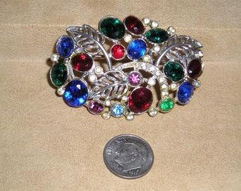 Vintage Art Nouveau Multicolored Rhinestone Brooch 1930's Jewelry 11208