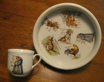 """Baby Bowl and Cup--""""The House That Jack Built""""--Nursery Rhyme Precious"""