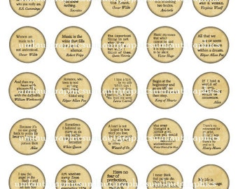 Digital Collage Sheet 1 Inch x 1 Inch Circles Sayings Quotes Poems Words to Live By