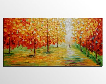 Landscape Oil Painting, Original Painting, Large Art Canvas, Bedroom Wall Art, Autumn Forest Tree Painting