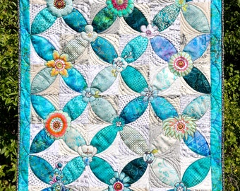 MarveLes Paper Pattern for COLLAGE a~PEEL Quilt Wall Hanging Tablerunner Fusible Floral Collage Home Decor Wall Hanging
