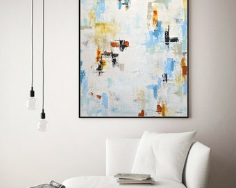 Large artwork original modern abstract oil painting 30 x 40 contemporary wall art abstract painting design by L.Beiboer