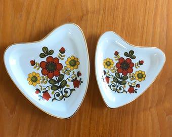Set of 2 Vintage Heart Shaped Decorative Plates