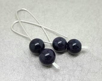 Blue goldstone long drop earrings / Sterling silver dangle / Navy sparkle bead earrings / Handmade in the UK