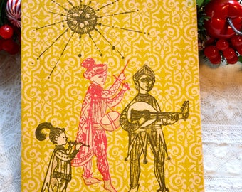 Vintage Christmas Card - Mid Century Modern Screen Printed Musical Band Under Sun - Used