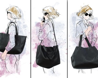 BLACK LEATHER TOTE, Oversize bag, Large leather bag, Bags and purses, black Totes, custom monogram bag