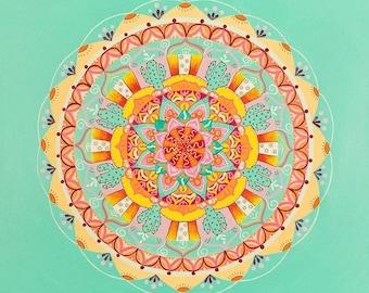 Turquoise Mandala Painting