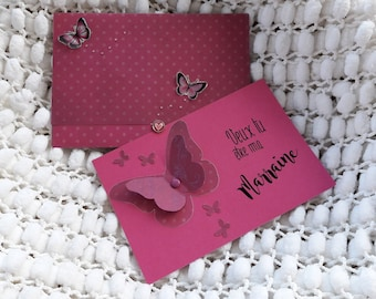 "Hot pink card ""Request godmother"". (customizable)"