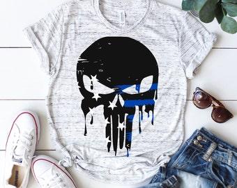 Thin blue line svg, Police svg, Law enforcement svg, Flag svg, Back the blue svg, Skull Police svg, Distressed svg, SVG, DXF, eps, png,