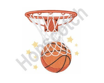 Basketball Hoop & Basketball - Machine Embroidery Design