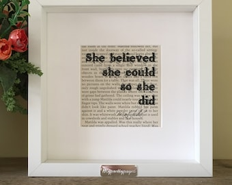 Graduation gift - Roald Dahl Matilda - she believed she could so she did - framed print - wall art - home decor - gift idea for daughter