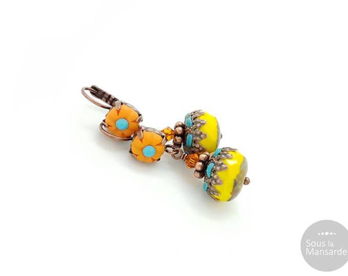 Featured listing image: Dangle earrings orange and yellow, boho earrings, lever back earrings, colorful earrings