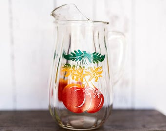 Vintage Retro Juice Jug - Glass Pitcher Tomato Plant Red Yellow Green - Vintage Retro Kitchen Serving - Glass Pitcher Water Juice Tomatoes