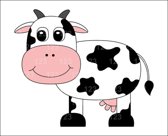 Items Similar To Cute Cow Single Digital Clip Art   1 PNG On Etsy