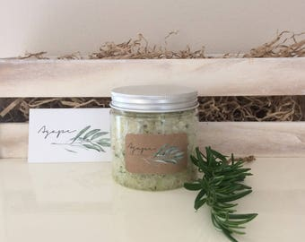 Lemongrass & Rosemary Body Scrub, all natural, Greek products, homemade