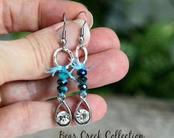 Rhinestone Earrings, Bohemian Style, Turquoise Aqua Blue Faceted Glass, Stainless Steel Ear Wires, Textured Silver, Drop Dangle Earrings