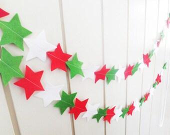 Christmas star garland. Felt star banner in red, white and green. 2m / 6.5ft longer