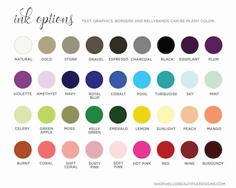 Ink and Paper Options, Color Samples, Color Options