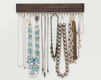 brown stained wood and gold (brass) or silver (nickel) hanging necklace display rack and organizer