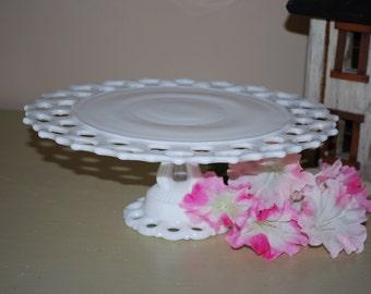 Beautiful Westmoreland Doric Pattern Milk Glass Cake Stand, Mint, Perfect