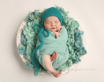 "Texture Fluff ""Turquoise"", basket stuffer, wool fluff, newborn prop, natural cotswold wool locks - naturally dyed"