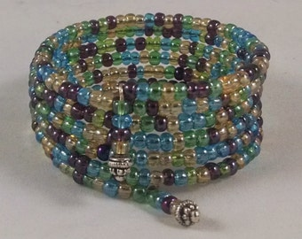 Variegated Multi-Colored Beaded Bracelet by Lily