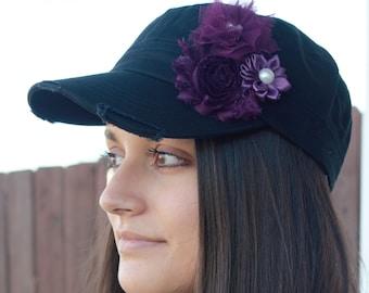 Black womens hat, womens baseball cap, womens flower hat, gift for mom, gift for her, cadet hat, military hat, baseball hat, cadet cap, plum