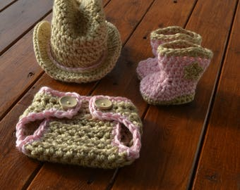 Pink Newborn Baby Cowgirl Set Photography Prop Baby Cowgirl Outfit Crochet Cowgirl Set Cowgirl Photo Prop Cowgirl Clothes Newborn Photo Prop