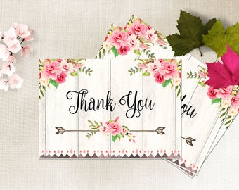 Thank You Card Printable Floral Thank You Card Boho Chic Thank You Card Floral Wedding Card Bridal Thank You Card Instant Digital Download