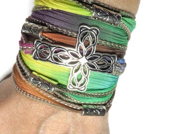 Cross Silk Wrap Bracelet Yoga Jewelry Bohemian Spiritual Boho Chic Summer Wrist Wrap Christmas Stocking Stuffer Unique Gift For Her Under 50