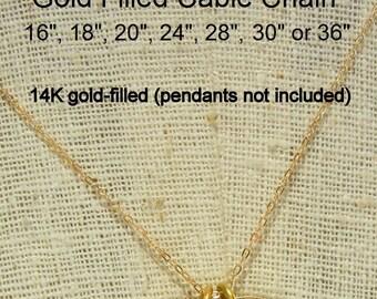 "Gold Cable Chain, Gold Chain, Gold Necklace, A La Carte Chain, Plain Chain, 14-karat gold filled 14"" 16"" 18"" 20"" 22"" 24"" 26"" 28"" 30"" 32"" 36"""