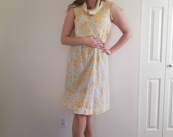 Vintage 1970's  Yellow Floral 2 Piece Dress With Cowl Neck