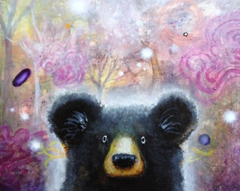 Bear Art Print -  Nature Art -  Whimsical Print -  Psychedelic