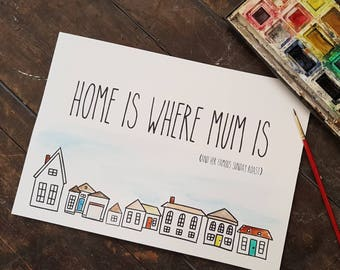 Handpainted and personalised Mother's day print