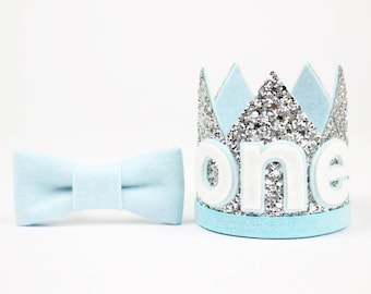 Boy Birthday Crown | First Birthday Outfit Boy | First Birthday Crown | Baby Birthday Party Hat | 1st Birthday Hat | Silver + Baby Blue One