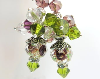 Olive Green and Amethyst Purple Swarovski Crystal and Lampwork Glass Beaded Dangle Earrings