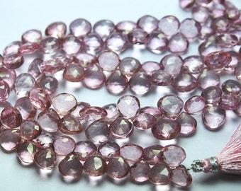 1/2 Strand,Finest Quality, MYSTIC Pink Quartz Faceted Heart Shape Briolettes,7-7.5mm