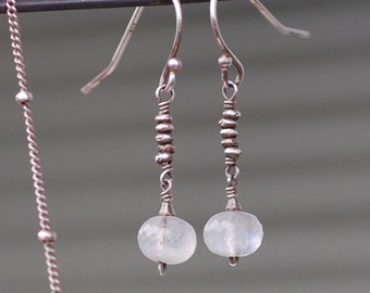 Moonstone Earrings, Genuine High Quality Moonstone, Oxidized Sterling Silver