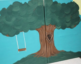 """Couple's Tree Canvas Set - each 16"""" x 20"""" Tree with swing, initials, can be customized Acrylic Paintings Original One-of-a-kind"""