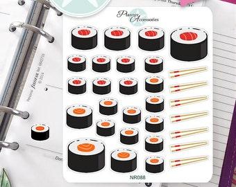Sticker Sheet Sushi Food Erin Condren, Happy Planner, Filofax, Kikki K -NR088