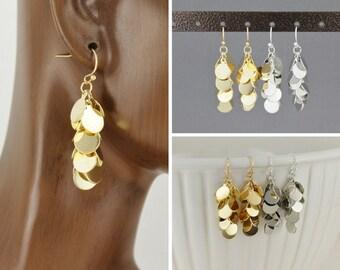 """chandelier earrings silver or gold lightweight sequin paillette dangle earrings 1.75"""" long dangly flowy wiggly earrings dangle disc"""