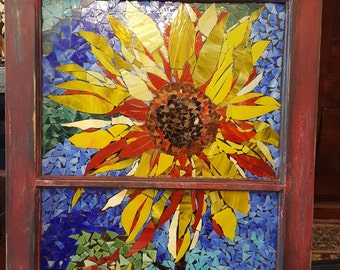 Sunflower Stained glass repurposed window