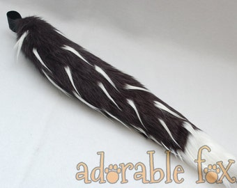 Faux Fur Fox Tail - Black with White Spikes - Cosplay / Furry / Costume