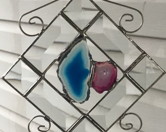 Beveled glass agate suncatcher, wire scrolls