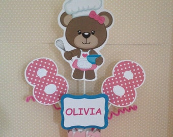 Baker Bear, Cooking, Baking Party Centerpiece Decoration
