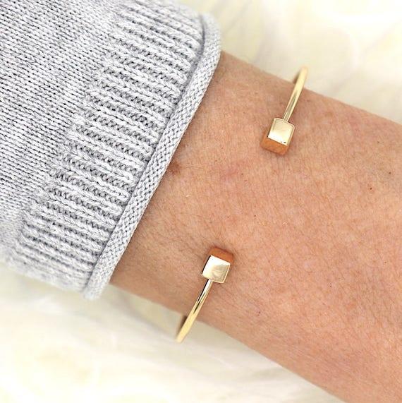 square thousandth 750 gold plated bracelet Bangle